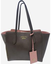 Gucci Brown & Pink Top Handle Tote Bag