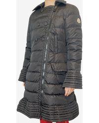 Moncler Black Collared Peplum Puffer Coat