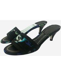 Chanel Black Kitten Heel Mules