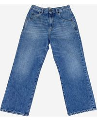 Saint Laurent Blue High Waisted Cropped Jeans