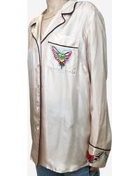 Zimmermann Lovestruck Pale Pink Silk Pyjama Style Top - Grey