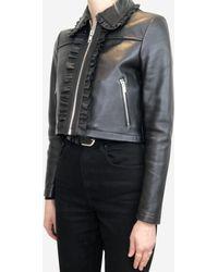 Maje Bollant Black Cropped Ruffle-trimmed Leather Jacket