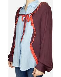 Preen By Thornton Bregazzi Blue, Burgundy, And Orange Blouse With Bow Accent - Multicolour