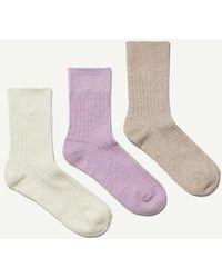 Weekday 3Er Pack Socken Selma - Lila