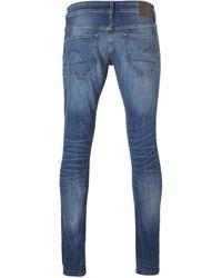 G-Star RAW Super Slim Fit Jeans 3301 Deconstructed Medium Indigo Aged - Blauw