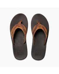Reef Leather Fanning Teenslippers - Bruin