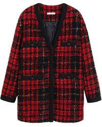 Mango Geruit Tweed Vest Rood/zwart