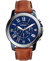 Fossil Grant Heren Horloge Fs5151 - Blauw