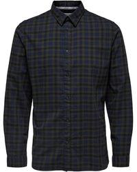 SELECTED Homme Geruit Regular Fit Overhemd Slhregisac Met Biologisch Katoen - Blauw