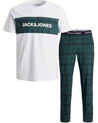 Jack & Jones Giftbox Pyjama Jactrain Wit/donkergroen - Meerkleurig