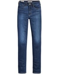 Levi's 724 High Waist Straight Fit Jeans Dark Denim - Blauw