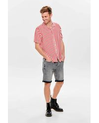 Only & Sons - Gestreept Regular Fit Overhemd Rood - Lyst