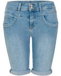 Miss Etam Regulier Slim Fit Jeans Short - Blauw