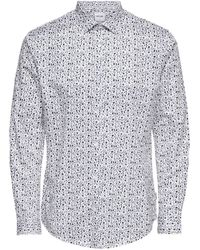 Only & Sons Regular Fit Overhemd Met All Over Print Wit/blauw