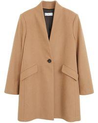 Mango Coat Met Wol Camel - Bruin