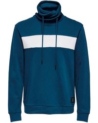 Only & Sons Sweater Met All Over Print Blauw/wit