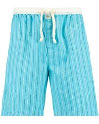 America Today Gestreepte Pyjamashort Lake Lichtblauw