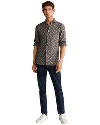 Mango Slim Fit Overhemd Met All Over Print - Groen