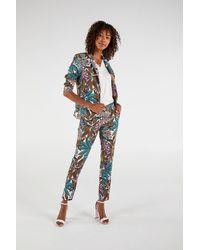 Expresso Slim Fit Pantalon Met All Over Print - Wit
