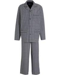 C&A Canda Geruite Pyjama Grijs - Blauw