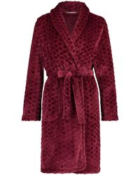 Hunkemöller Fleece Badjas Bordeaux Rood