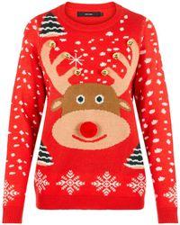 Vero Moda Kersttrui Met Dierenprint Rood