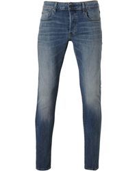 G-Star RAW Slim Fit Jeans 3301 Vintage Medium Aged - Blauw