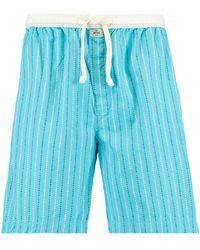 America Today Gestreepte Pyjamashort Lake Lichtblauw/wit