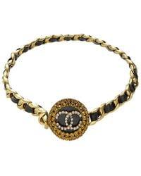 Chanel Gold & Crystal 'cc' Chain Waist Belt - Metallic