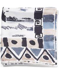Prada Multicolor Prague Silk Scarf - Blue