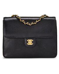 Chanel Black Embossed Lizard Shoulder Bag