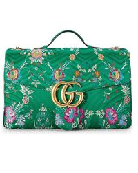 Gucci Green Satin Floral Marmont Shoulder Bag