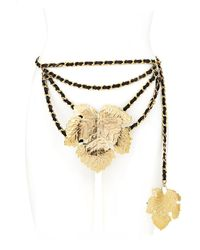 Chanel Gold & Black Leather Leaf Chain Belt - Metallic
