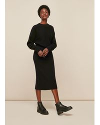 Whistles Knitted Merino Wool Tube Skirt - Black
