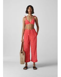 Whistles Heart Print Beach Trouser - Red
