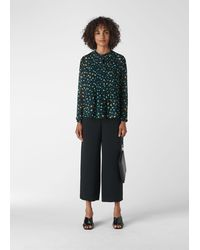 Whistles Scattered Floral Pintuck Shirt - Green
