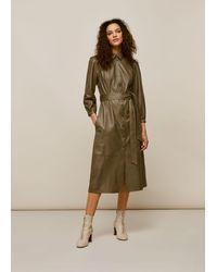 Whistles Phoebe Leather Shirt Dress - Multicolour