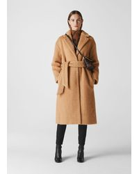 Whistles Wool Textured Belted Coat - Natural
