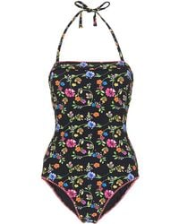 Whistles - Pansy Print Bandeau Swimsuit - Lyst
