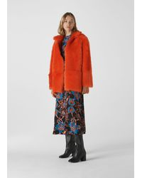 Whistles Alba Shearling Coat - Orange