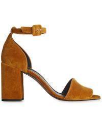 Whistles - Hedda Velvet Block Heel Sandal - Lyst