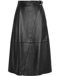 Whistles - Wrap Leather Midi Skirt - Lyst