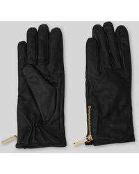 Whistles Zip Detail Leather Glove - Black