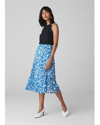 Whistles Cordillia Print Pleated Skirt - Blue
