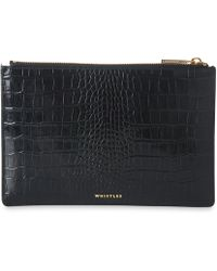 Whistles - Shiny Croc Small Clutch - Lyst