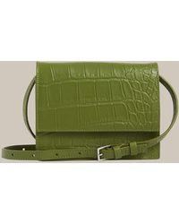 Whistles Suri Mini Croc Crossbody - Green