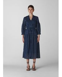 Whistles Valeria Embroidered Dress - Blue