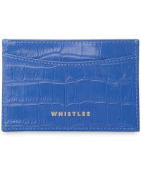 Whistles Sea Blue Croc Cardholder