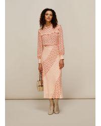Whistles Flower Berry Print Silk Skirt - Multicolor