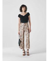 Whistles Big Cat Print Satin Trouser - Multicolour